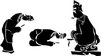 「呉家荘 双闕楼閣、拝礼畫像」の一部をスケッチ